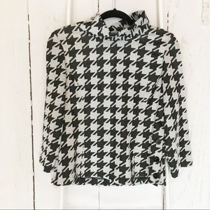 Kenar Black Gray Houndstooth 3/4 Sleeve Top Sz 8